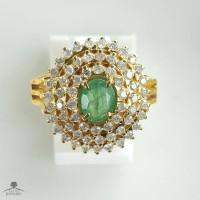 Cincin Emas Kuning Kombinasi Batu Zamrud Full Berlian Eropa