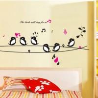 Wall Sticker /stiker dinding kamar transparan Singing Birds 50x70
