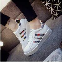 Sepatu Wanita Kets Putih Strip Casual SDS162 EXCLUSIVE