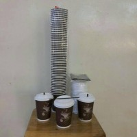 Paper Cup (Gelas Kertas) 8 oz + tutup + Sedotan Pipih (50 pcs)