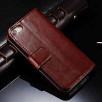 Flip Cover KULIT iPhone 5 5s SE Leather Case Flipcase Casing Dompet HP