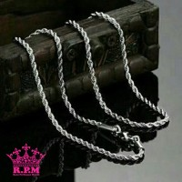 Jual Kalung titanium tambang warna silver 75cm stainless steel 316L murah Murah