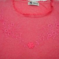 Jual Kaos merah muda bordir bunga Murah