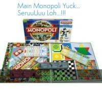 Jual Permainan Monopoli 5 in 1 (Monopoli, Catur, Halma, Ludo, Ular Tangga) Murah
