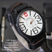 Jam Tangan Victorinox Combo Leather Hitam plat Putih