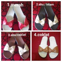 harga sandal flat/teplek wanita model pita kulit sapi Tokopedia.com