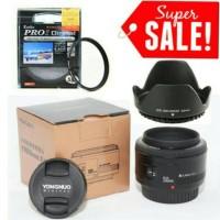 Lensa Fix Kamera Canon YONGNUO 50mm f1.8 / 50 mm f/1.8 Filter & Hood