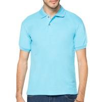 POLO Kaos Kerah biru muda Polos Baju Pria Cowok Bahan Lacos Pendek
