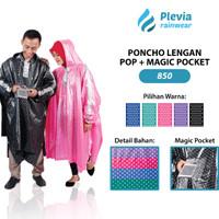 Jas Hujan Ponco LENGAN POLKADOT Pop Plus Magic Pocket Plevia 850Poncho