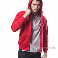Jual Jaket Hoodie Zipper Merah TERANG Polos PRIA M - XL Murah
