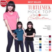 Harga turtleneck mock top pakaian baju wanita blouse | antitipu.com