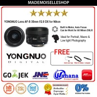 Yongnuo Lensa Fixed AF-S 35mm F/2.0 DX For Nikon D3400/D5300/D5500