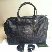 Tas Longchamp Quadri Medium Leather Satchel Navy Dee