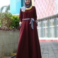 gamis semiwoll import by dobu