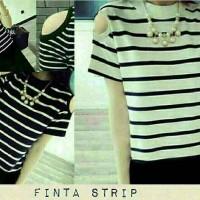 blouse atasan garis strip stripe hitam putih casual shoulder pundak