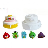 Mainan Anak - 2 Tier Angry Bird Cake Colouring Set Cat Air