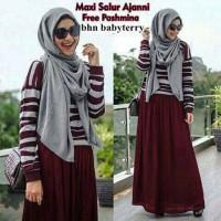 aop setelan st hijab muslim ayu maroon / baju wanita maxi syari
