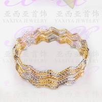 Yaxiya gelang keroncong set 12 perhiasan imitasi lapis emas 18k 473