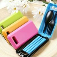 Set alat makan / sendok garpu sumpit portable / travel set korea