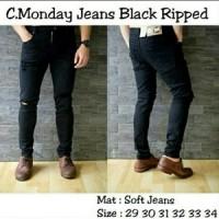Jual Jeans sobek / ripped jeans / skinny jeans hitam / jeans slim fit Murah