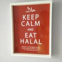 harga Hiasan Dinding Wooden Poster Keep Calm And Eat Halal Uk 30x40 Tokopedia.com