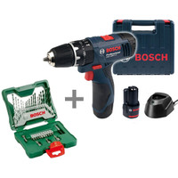 Mesin Bor Obeng Tembok Baterai Bosch GSB 1080-2-Li + Bosch X-Line 33 B