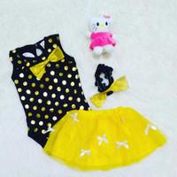 setelan jumper rok bayi polkadot emas | baju bayi perempuan