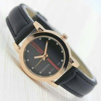 READY!!! JAM TANGAN WANITA GUCCI LEATHER PREMIUM WARNA HITAM KWS
