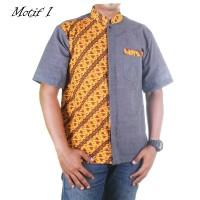 Baju Atasan Pria / Kemeja / Hem Krah Shanghai Polos Kombinasi Batik