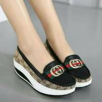 Sepatu Sandal Wanita/Flat Shoes Slip On Replika Gucci Pita Hitam