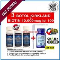 Jual PAKET 3 BOTOL MINOXIDIL + BIOTIN 10.000Mcg isi 100 softgell Murah