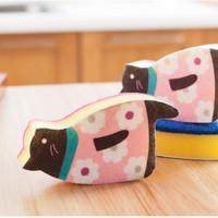 spons cuci piring bentuk kucing lucu - hbh056