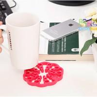 tatakan makanan minuman anti tahan panas motif bunga lucu unik- HHM367