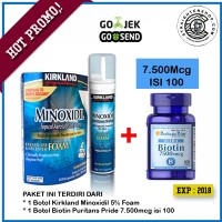 Kirkland minoxidil 5% foam + Biotin 7500mcg @100 Penumbuh rambut