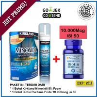 Kirkland minoxidil 5% foam + Biotin 10.000mcg @50 Penumbuh rambut