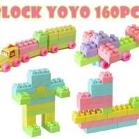 Mainan edukasi block lego yoyo 160 pcs / block anak balita kantong