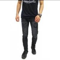 Jual jeans sobek / ripped jeans / skinny jeans hitam pria / jeans slim fit Murah