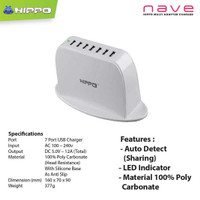 Hippo Nave 7 Ports Charger Iphone Xioami samsung Lenovo (Value Pack) M