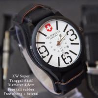TERBATAS Victorinox Combo Leather Hitam plat Putih LARIS