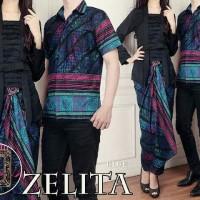 Baju Setelan Pasangan Muslim Zoya Couple Set 3 in 1 Blue