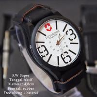 Promo Victorinox Combo Leather Hitam plat Putih