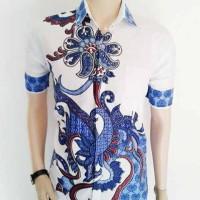 kemeja batik pria putih corak biru | BATIK PEKALONGAN INDONESIA