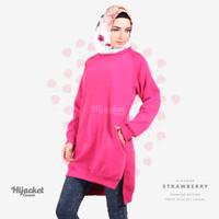 Jaket Jacket Hijab Jilbab Hoodie Kasual Casual Wanita STRAWBERRY