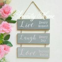 Jual MDF Walldecor 02 - Live Laugh Love Grey / Hiasan Gantung Susun Murah