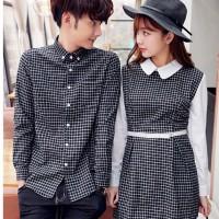 dress couple kotak lengan panjang - baju pasangan kemeja couple