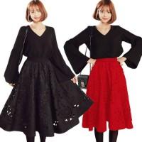 Midi Flower Punching Skirt(#616)/Rok midi/Rok pesta/Rok kerja
