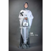 Mukenah Ponco Makinayu White Grey Diskon