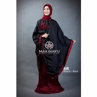Mukenah Ponco Makinayu Black Red Diskon