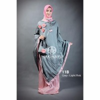 Mukena Ponco Makinayu Grey Light Pink Murah