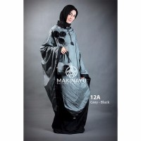 Mukenah Ponco Makinayu Grey Black Diskon